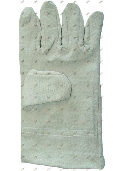 Gants à 5 doigts, blancs  en tricot de coton.